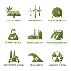 Obraz sustainable energy icon set. eco friendly, renewable and alternative power symbols. isolated vector images - fototapety do salonu