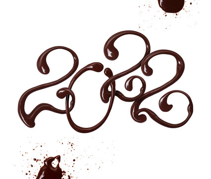 Date of the New Year 2022 made of chocolate elegant font with swirls, isolated on white background