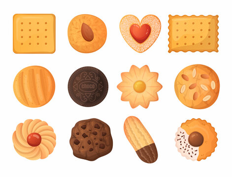 Cartoon cookies. Tasty food. Delicious biscuit and cracker. Baked dough products. Gingerbread and chocolate cake. Isolated pastries collection. Sweet snacks. Vector yummy desserts set