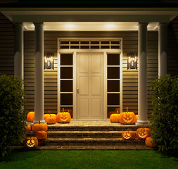 Fototapeta Halloween. Pumpkins with glowing eyes on the porch of the house. 3d illustration obraz