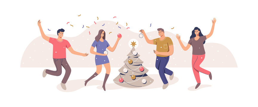 Christmas tree decoration. Group people celebrate. Merry Christmas and Happy new year. Vector illustration.