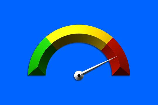 Halbkreis Anzeiger in drei Farben in 3d