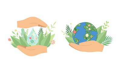 Fototapeta Human Hands Holding Planet and Pure Water Drop with Green Foliage as Environmental and Ecology Protection Vector Set obraz