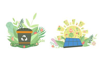 Fototapeta Recycle Bin and Solar Panel Among Green Foliage as Environmental and Ecology Protection Vector Set obraz