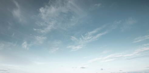 Obraz Panorama of blue sky with cirrus clouds - fototapety do salonu