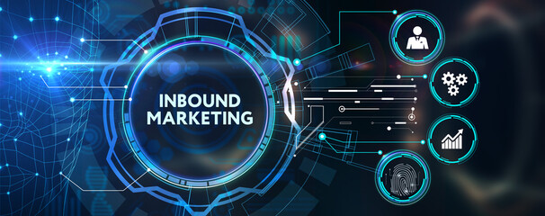 The concept of business, technology, the Internet and the network. virtual screen of the future and sees the inscription: Inbound marketing