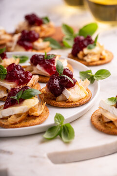 Party appetizers with turkey, brie and cranberry sauce
