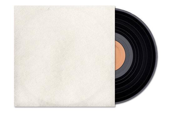 Vintage vinyl LP, retro gramophone record, blank cover.