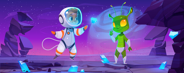 Obraz Cute spaceman and alien characters on planet at night. Vector cartoon landscape with rocks, blue crystals, stars in sky, boy astronaut in spacesuit and green extraterrestrial - fototapety do salonu