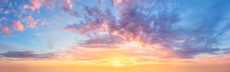 Obraz Large Panorama of  Sunset  Sunrise Sundown Sky with colorful clouds - fototapety do salonu