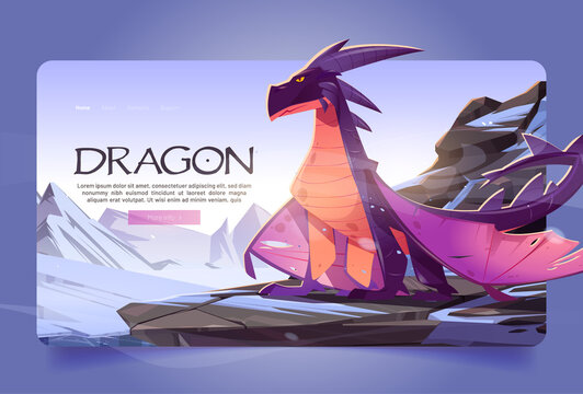Dragon at winter mountains cartoon landing page. Magic character sitting on rock at snowy landscape background. Cartoon fantasy character, fairytale game, fantasy movie or book Vector web banner