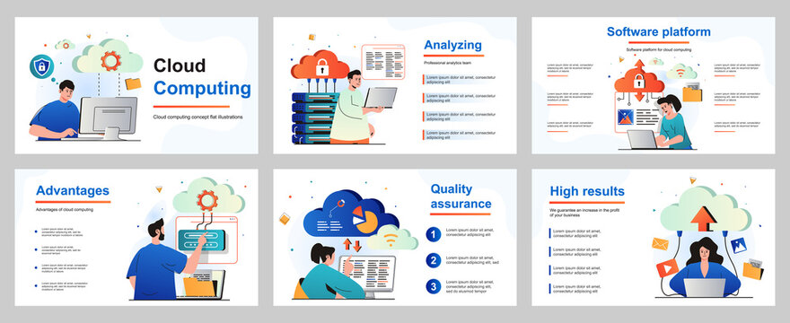Cloud computing concept for presentation slide template. People uploading files, storage data at server and processing information, using cloud technology. Vector illustration for layout design