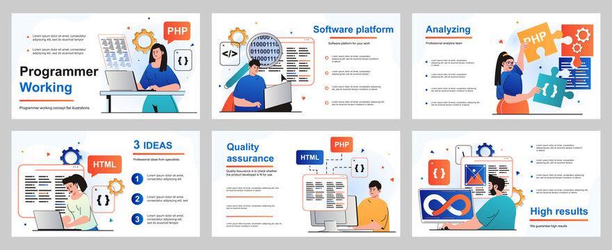 Programmer working concept for presentation slide template. Developers program in different programming languages, create software, coding and optimization. Vector illustration for layout design