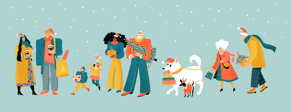 Preparing for Christmas. People with Christmas trees, gifts and mulled wine. Cute characters of family with children, young people and elderly couple with dogs