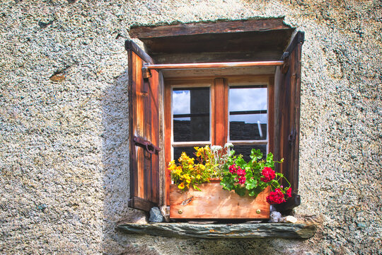 Typical window of the Swiss Alps