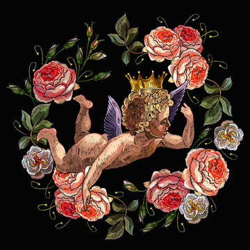 Embroidery angels and ring of roses flowers. Renaissance art. Cupids. Happy Valentines Day art. Paradise garden. Fashion template for clothes and t-shirt design