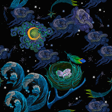 Embroidery. Good night art. Polar lights, moon, colorful feathers, night starry sky, sea waves and bird nest with eggs. Northern fairy tales. Fashion template for clothes. Magic universe background