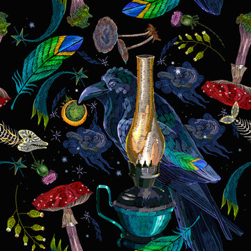 Embroidery. Polar lights, mushrooms, night starry sky, autumn leaves and colorful feathers. Good night art. Magic forest background. Northern fairy tales art. Fashion template for clothes
