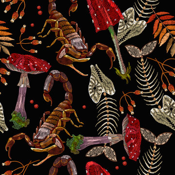 Embroidery fly agarics, fish bone and scorpion. Dark gothic romanntic seamless pattern. Medieval clothes template. Fairy tale forest background