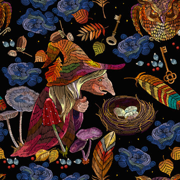 Witch wearing hat. Halloween seamless pattern. Forest sorceress, owl bird, autumn leaves, golden keys. Embroidery background. Fashion template for clothes. Romantic dark gothic fairy tale art