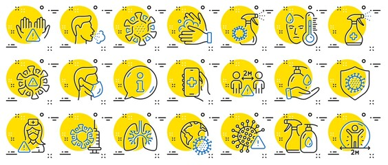 Fototapeta Coronavirus line icons. Medical Mask, Washing Hands, Corona Virus Symptoms. Social Distance, Hand Sanitizer, Face mask line icons. Covid-19 pandemic, Lung Disease, coronavirus hygiene. Vector obraz