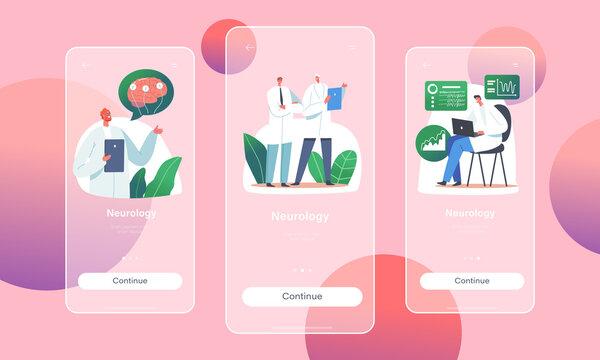 Neurology Mobile App Page Onboard Screen Template. Doctor Neurologist, Neuroscientist, Physician Characters Study Brain