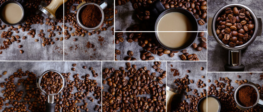 Coffee beans background. Banner. Coffee collage. Portafilter.