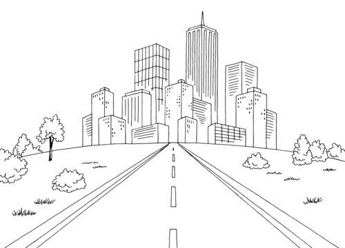 Road city graphic black white landscape sketch illustration vector