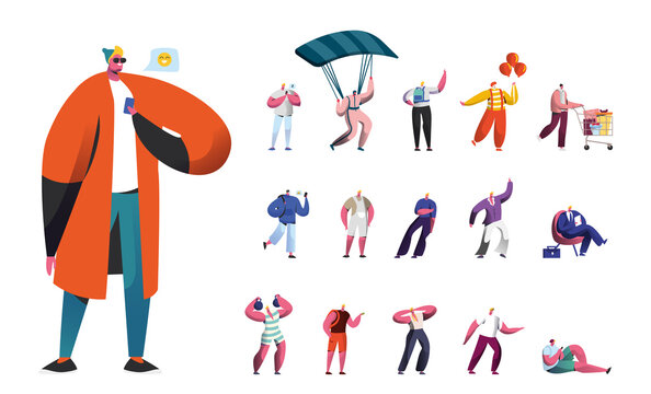 Set of Male Characters, Men Lifestyle, People Use Gadgets, Skydiving with Parachute, Clown in Costume and Shopping