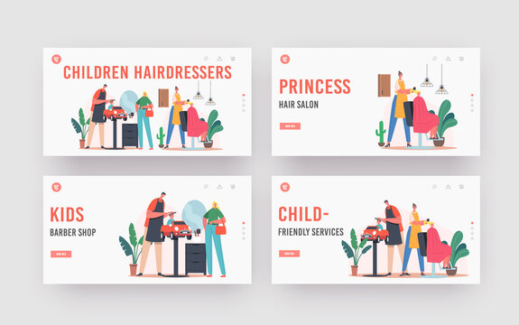 Children Hairdresser Salon Landing Page Template Set. Master Cut Hairs and Making Hairstyle to Little Boy and Teen Girl