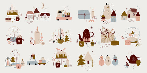 Fototapeta modern boho hygge minimalism. merry christmas and new year. winter stickers for design. vector set of christmas elements. obraz