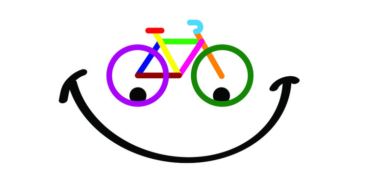 Colored cycling logo with happy facer. Color cyclist banner, walppaper or card. Cycling icon. Funny vector bike pictogram or sign. Sport symbol. Red, yellow, green, blue colors