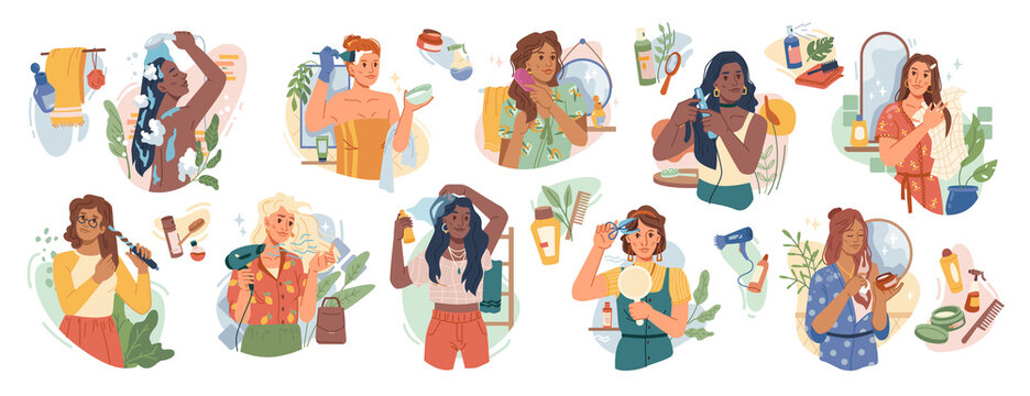 Woman and hair-care products flat cartoon set. Vector washing, brushing, cutting, coloring and care about hair with natural products. Hairstyle and haircut, hair dryer and shampoo, girls in towels