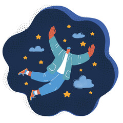 Obraz Vector illustration of businessman fly at stary cloud sky - fototapety do salonu