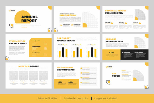 Annual Report PowerPoint Presentation or Yellow  Business Annual Report presentation slide Design