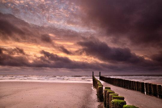 dramatic purple sunset on North sea