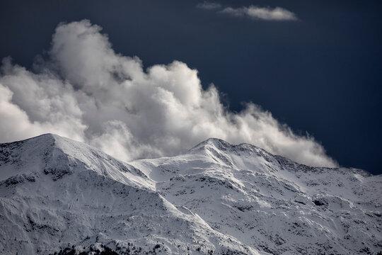 sunlight on snowy mountains