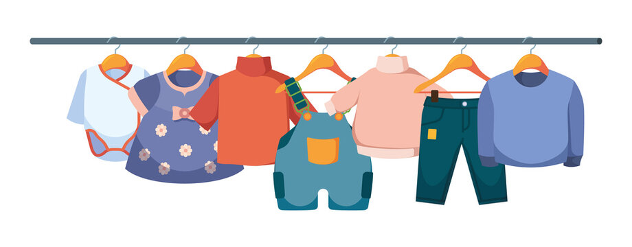 Kids clothes on hangers. Wardrobe of casual clothes for children jackets pants fabric colorful dresses garish vector flat illustration