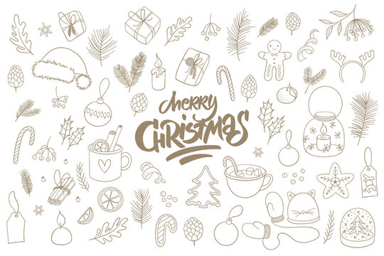 Christmas doodles collection. Set of line art sketchy drawing. Merry Christmas lettering. Isolated on white background.