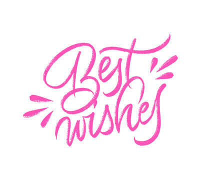 Best wishes greeting card. Vector brush callygraphy. Isolated on white background.