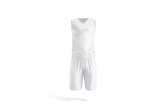 Blank white basketball uniform mockup, front view