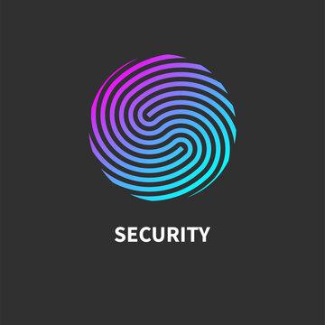 Security icon. Security round logo. Identification symbol, sign