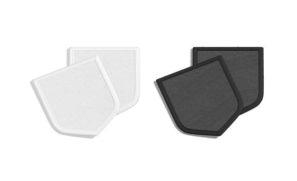Blank black and white shield embroidered patch mockup pair, isolated