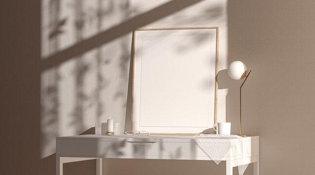 Blank wood quad vertical frame mock up interior background