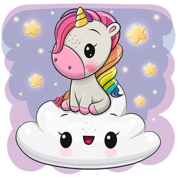Cartoon Unicorn is sitting a on the Cloud