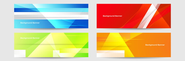 Fototapeta Collection of colorful banner template. Abstract web banner design. Header, landing page web design elements. abstract horizontal web banner design template backgrounds obraz