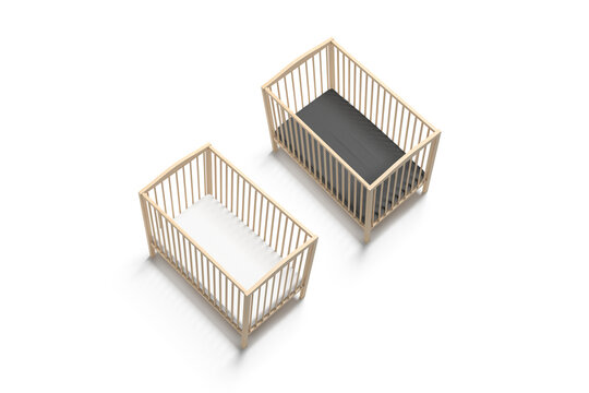 Blank wood cot with black and white crib sheet mockup