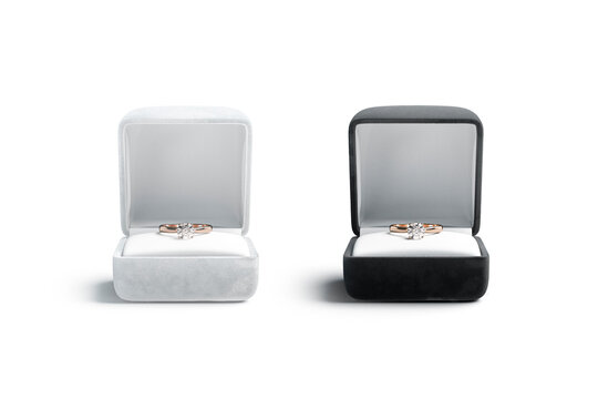 Blank black and white box with gold diamond ring mockup
