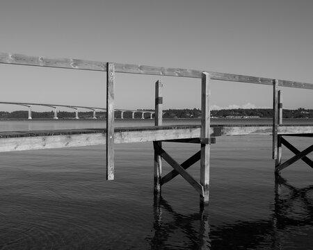 Mors / Denmark: Bathing jetty in front of the Sallingsund bridge in the Limfjord