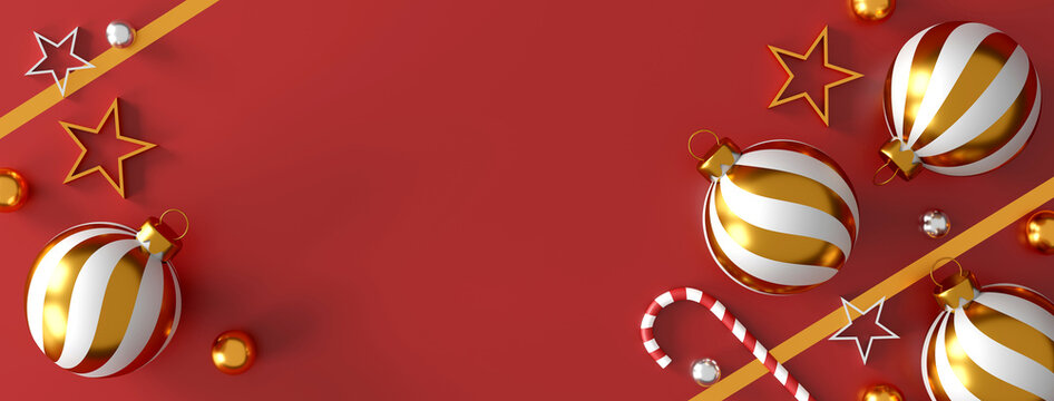 Christmas and happy new year decorations with a red gift box, golden silver ball and golden star on red background. 3d illustration